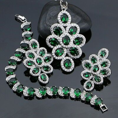 Green Cubic Zirconia White Rhinestone Jewelery 925 Sterling Silver Jewelry Sets