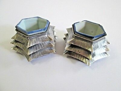 Antique Chinese Export Silver Pagoda Salt Cellars
