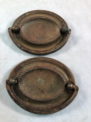 2 Antique Vintage Brass Drawer Drop Bail Pull Handle Oval Plain Center