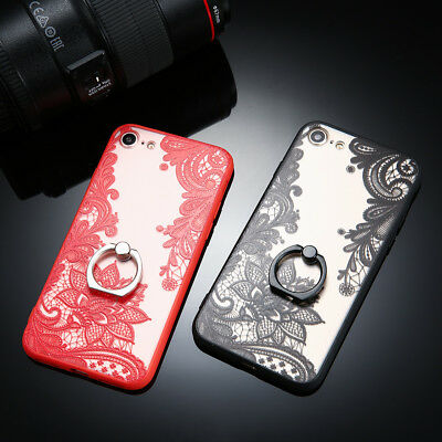 For iphone X 5 6 6s 7 8 Plus Lace Flower Metal Ring kickstand phone case cover
