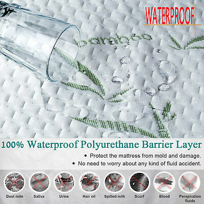 Bamboo Waterproof Mattress Protector  Soft Hypoallergenic Pad Bed Topper Cover