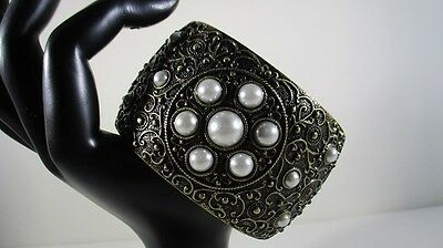 Vintage Baroque Hinged Bangle Bracelet Wide Cuff Bronze Tone and Faux Pearls