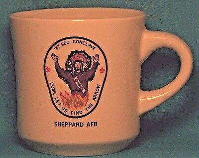 BOY SCOUTS Come Let Us Find the Arrow Sheppard AFB '87 COFFEE CUP / MUG