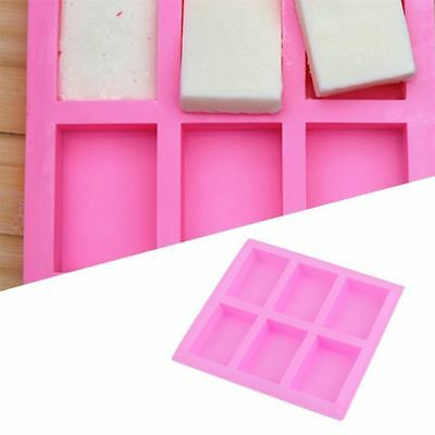 DIY 6-Cavity Plain Rectangle Soap Mold Silicone Craft Making Homemade Cake Mould