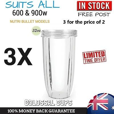 3 NUTRIBULLET COLOSSAL BIG LARGE TALL CUP 32 Oz - Nutri Bullet 600 & 900 Models