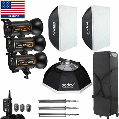 Godox 1800W 3X QT 600W High Speed Studio Strobe Flash Light Photography Kit Set