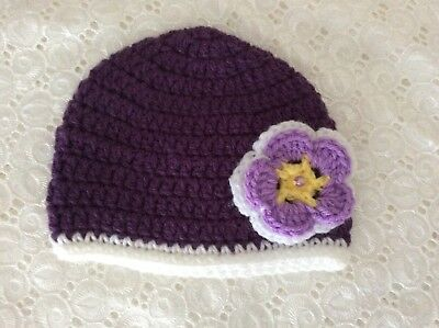 DEEP PURPLE NEWBORN  BABY GIRLS  CROCHET BEANIE Made in WA
