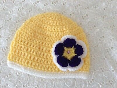 LEMON YELLOW NEWBORN  BABY GIRLS  CROCHET BEANIE Made in WA
