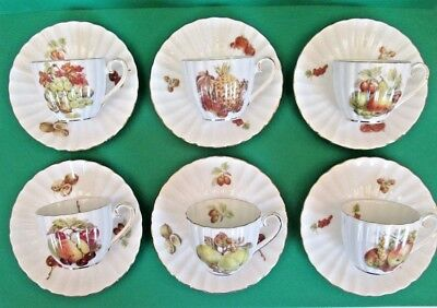 "Royal Tuscan ""Fruit and Nut"" Demitasse Cups and Saucers, England"