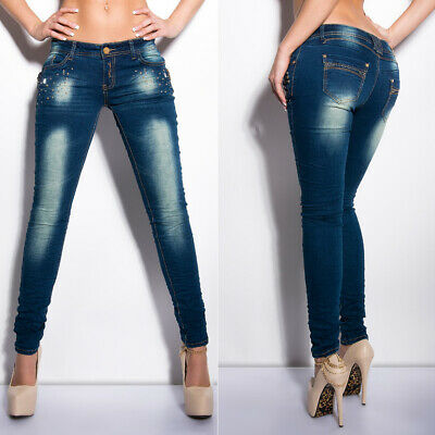 Womens Skinny Jeans Studs & Chains Low Rise New Hipster Blue Sizes 6 8 10 12 14