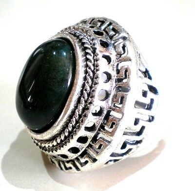 Sterling Silver Plated Green Jade Ring Men's Women's Various Sizes