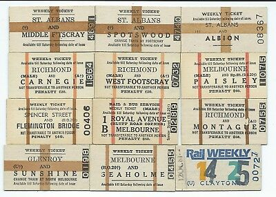 12 Different MELBOURNE Weekly Tickets