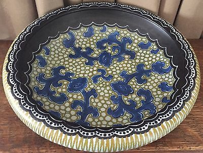 Vintage Karta 1923 Gouda Bowl Holland - Black, Blue, & Off-White w/ Gold Accents
