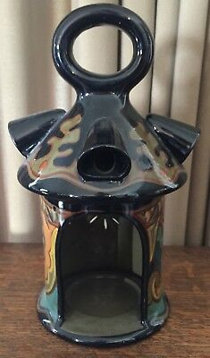 Gouda 1921 Maas Candlestick w/ Handle - Glossy Black, Orange, Red - Holland