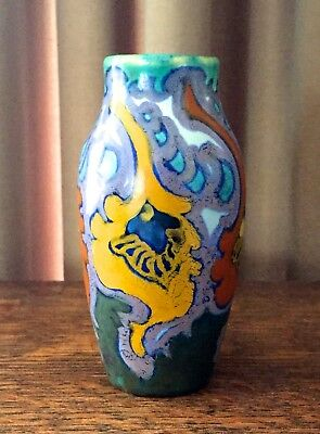 "Hunze 1921 Gouda Holland - 4 3/8"" Vase - Green, Yellow, Lavender, & Cobalt"
