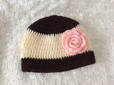 BROWN & CREAM BABY GIRLS  CROCHET BEANIE 3 to 6 months Made in WA