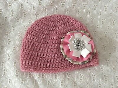 DUSTY PINK BABY GIRLS  CROCHET BEANIE 3 to 6 months Made in WA