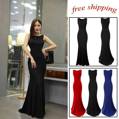 Sleeveless Prom Ball Cocktail Party Full Dress Formal Evening Gown Long Skirt SM