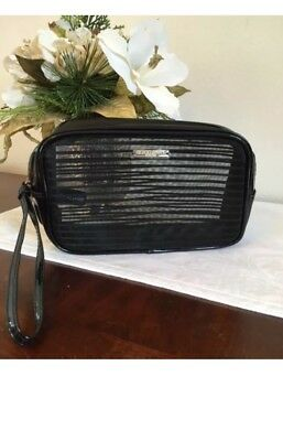 Giorgio Armani Patent Leather Gold Black Makeup Case Cosmetic Pouch Travel Bag