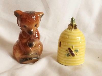 Goebel 1950s Salt and Pepper shakers Baby bear and bee hive