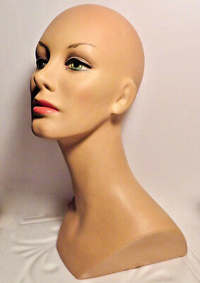 "VTG1960s Dept Store 17"" Female Mannequinn Head bust retro shop manekin display"