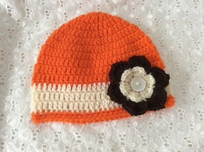 ORANGE & CREAM BABY GIRLS  CROCHET BEANIE 6 to 9 months Made in WA