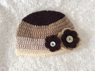 BABY GIRLS  CROCHET BEANIE - MIXED BROWNS 6 to 12 months Made in WA