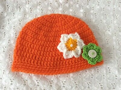 ORANGE BABY GIRLS  CROCHET BEANIE 6 to 12 months Made in WA