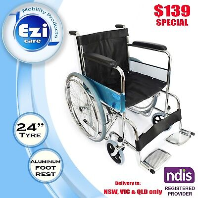 Black Leather chrome Steel Wheelchair Ezi-Care Age Care Mobility Product