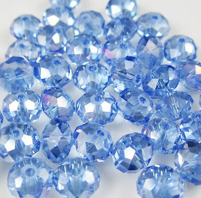 New Faceted 70pcs 6*8mm Rondelle glass crystal Beads Light blue AB