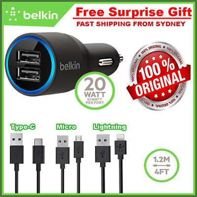 Belkin Dual USB Car Charger 4.2A For IPhone 6 7 8 Plus Samsung S7 S8 NOTE 8 HTC