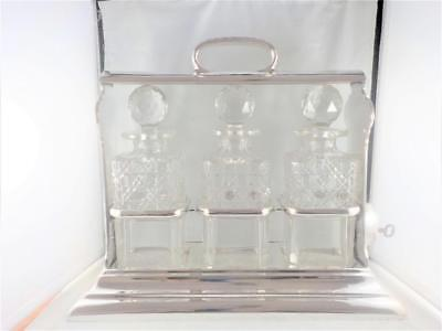 Antique silverplated Tantalus/crystal glass decanters Walker & Hall 1890/1900 c