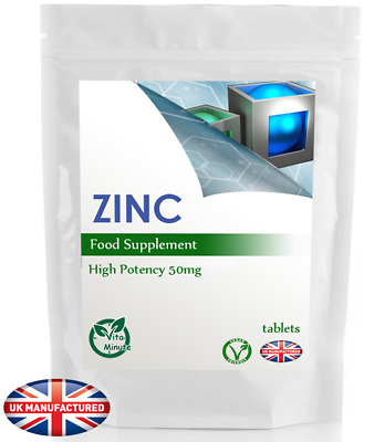 Zinc 50mg - 30/60/90/120/180 Tablets (Hair, Skin Nails, Immune Health), UK (V)