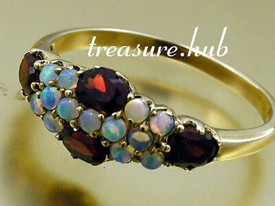 C569 LOVELY Genuine 9K Solid Yellow Gold NATURAL GARNET OPAL Cluster Ring size N