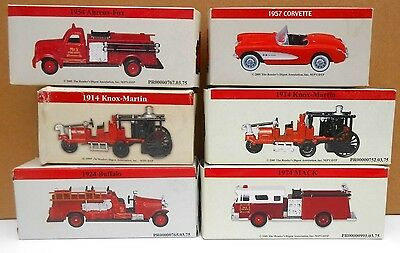 Lot of 6 Diecast and Plastic Firetrucks and 1957 Corvette - S Scale 1:64 -  MIB
