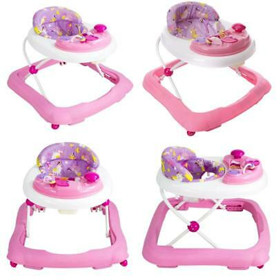 Pink Go Round Jive Height Adjustable Foldable Unicorn Print Walker Red Kite Baby