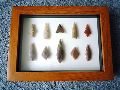 Neolithic Arrowheads in 3D Picture Frame, Authentic Artifacts 4000BC (1059)