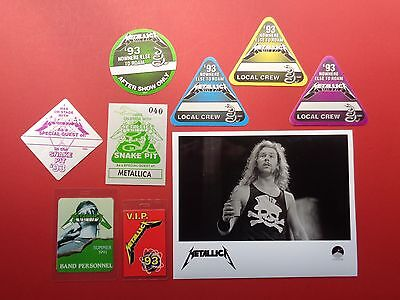METALLICA,Promo photo,8 Backstage passes,RARE Originals,Various Tours