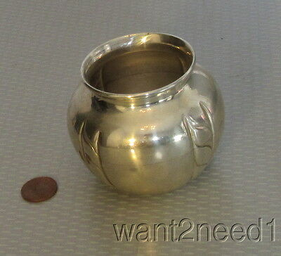 "handcrafted vtg signed ROMANA 900 SILVER URN VASE 2.5"" pot shaped 4 stripes 84g"
