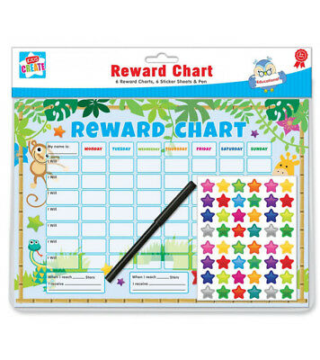 Children's Educational Animal Good Behaviour Reward Chart 6pc & Stickers and Pen