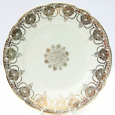 Vintage Leonard Street Pottery Burslem Bone China Gold Tea Plate