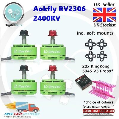 Aokfly RV2305 2400KV CW CCW Brushless Motors + Soft Mounts + Props - DYS EMAX