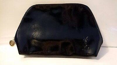 Yves Saint Laurent YSL Soft Black Patent Beaute Make Up Clutch Bag New
