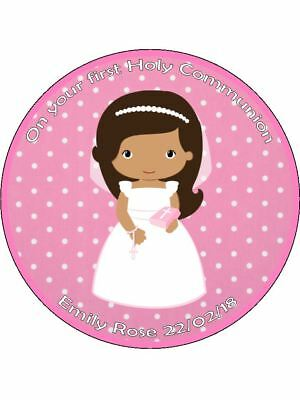 Holy Communion girl dress bible wafer or Icing edible Round Cake topper