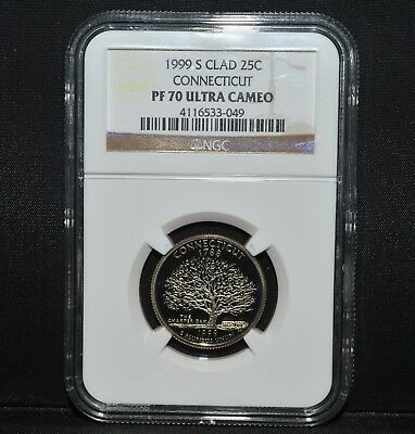 1999-S Connecticut Quarter ✪ Ngc Pf-70 Ultra Cameo ✪ 25C Clad State ◢Trusted◣