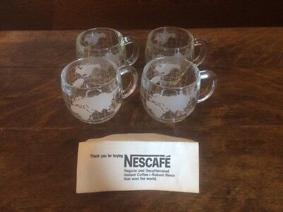 4 Nestle Nescafe World Clear Frosted Glass Coffee Tea Mugs!!