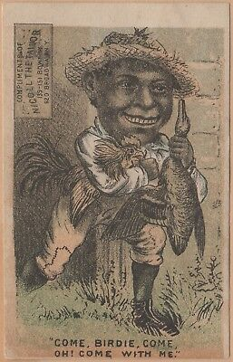Victorian Trade Card-Nicoll the Tailor-Black Americana-Stealing Chicken & Duck