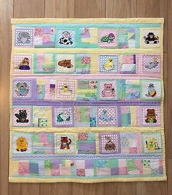 "Handcrafted Quilted Cotton Baby Boy/Girl Crib Quilt/Throw Lap or Nap 30""x32"""