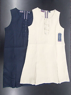 Girls Nautica $36 Navy or Khaki Uniform Jumper Dresses w/ Ruffles Size 7 - 16