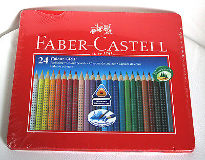 24 FABER CASTELL Buntstifte Colour Grip im Metall-Etui - NEU